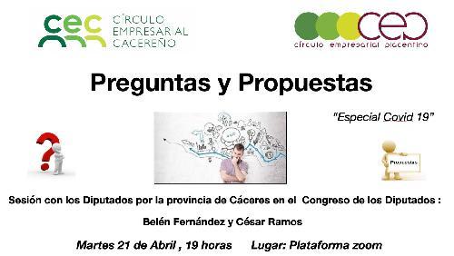 CEC organiza un encuentro con los Diputados por la provincia de Cáceres en el Congreso de los Diputados.