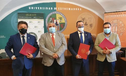 Los Círculos Empresariales de Cáceres, Plasencia y Montehermoso firman un convenio con la UEX para promover el espíritu emprendedor entre el alumnado y retener el talento